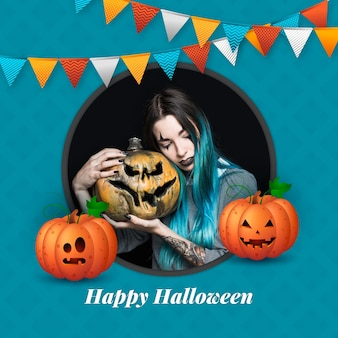 Realistische halloween-social-media-rahmenvorlage