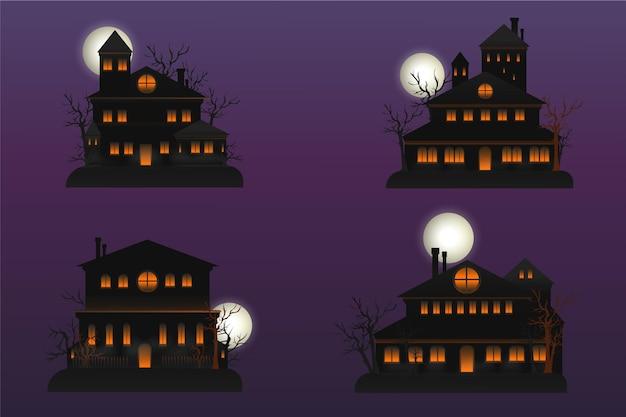 Realistische halloween-spukhäuser-kollektion