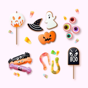 Realistische halloween-süßigkeiten-sammlung