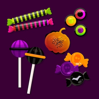 Realistische halloween-süßigkeitensammlung