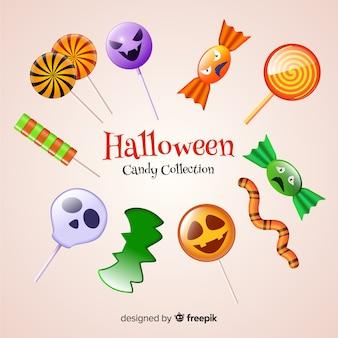 Realistische halloween-süßigkeitssammlung auf hellgelbem hintergrund