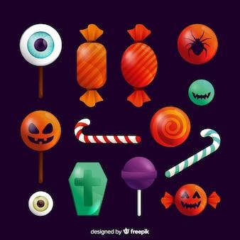 Realistische halloween-süßigkeitssammlung