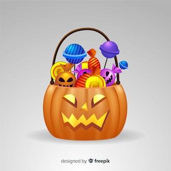 Realistische halloween-süßigkeitstasche