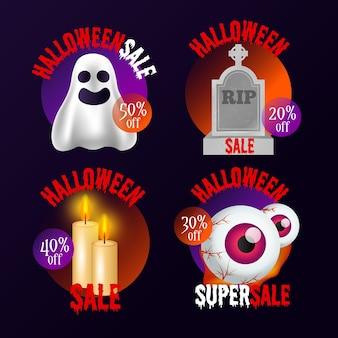 Realistische halloween-verkaufsabzeichen-sammlung
