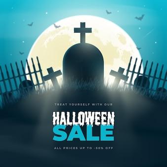 Realistische halloween-verkaufsillustration
