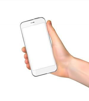 Realistische hand, die handy lokalisiert auf weiß hält