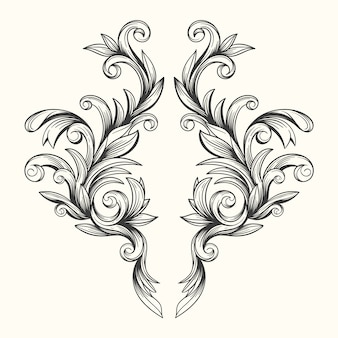 Realistische hand gezeichnete barocke art ornamentalgrenze