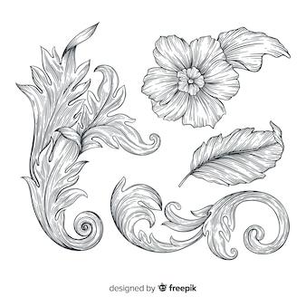 Realistische hand gezeichnete barocke weinleseblumen