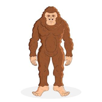 Realistische hand gezeichnete bigfoot sasquatch illustration