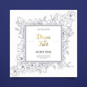 Realistische hand gezeichnete blumen, die einladung auf blauen schatten heiraten