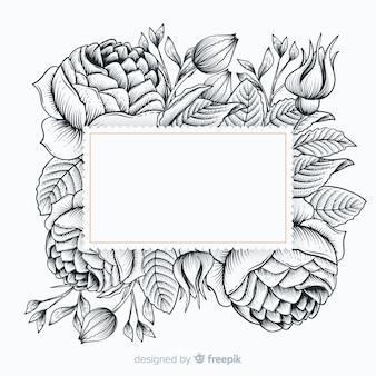 Realistische hand gezeichnete blumen mit leerer fahne