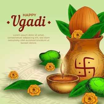 Realistische hand gezeichnete glückliche ugadi illustration