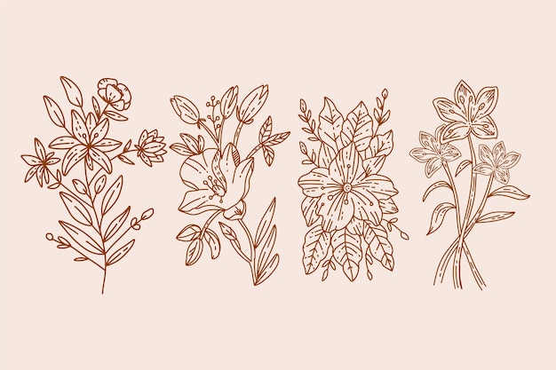 Realistische hand gezeichnete kräuter u. wilde blumen