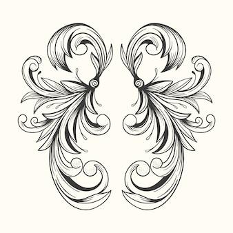 Realistische hand gezeichnete zierleiste im barockstil