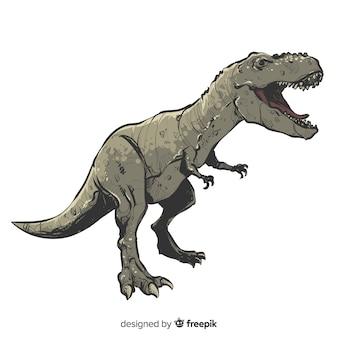 Realistische hand gezeichneter t-rex-hintergrund