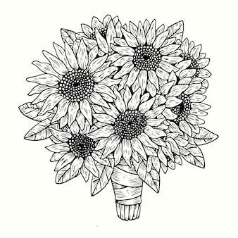 Realistische hand gezeichneter weinleseblumenstrauß