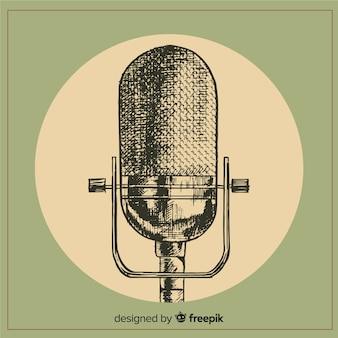 Realistische hand gezeichnetes retro- mikrofon