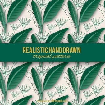 Realistische hand gezeichnetes tropisches muster