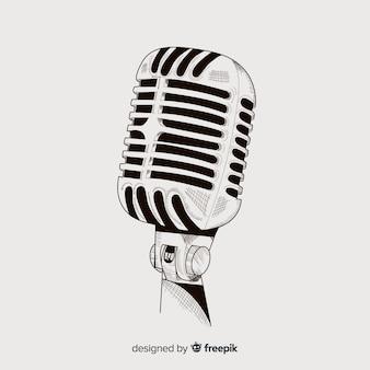 Realistische hand gezeichnetes weinlesemikrofon