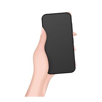 Realistische hand hält das telefon. weibliche hand mit einem telefon in 3d. isoliert