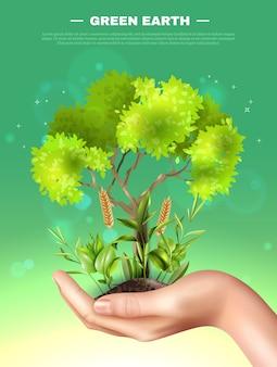 Realistische hand pflanzt ökologie-illustration