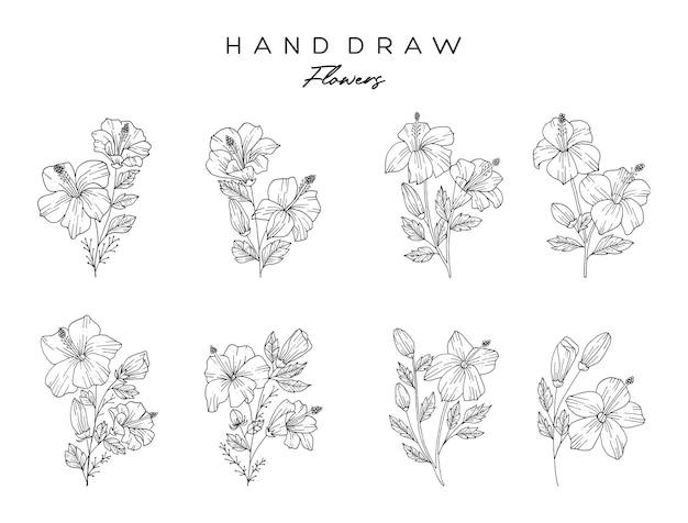 Realistische handgezeichnete blumen und blätter. hibiskusblüten werden mit natürlichen handzeichnungen hergestellt