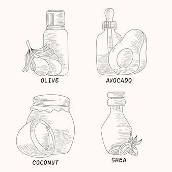 Realistische handgezeichnete flaschenpackung mit ätherischen ölen