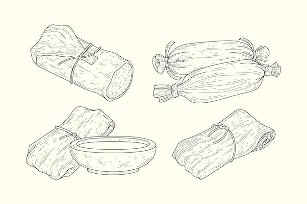 Realistische handgezeichnete tamales