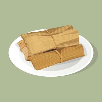 Realistische handgezeichnete tamales Kostenlosen Vektoren