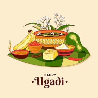 Realistische handgezeichnete ugadi illustration