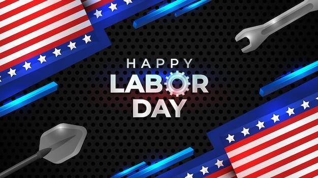 Realistische happy labor day banner