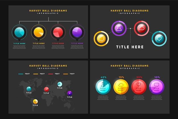 Realistische harvey ball diagramm infografik