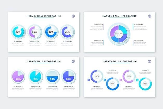 Realistische harvey ball diagramme infografik sammlung