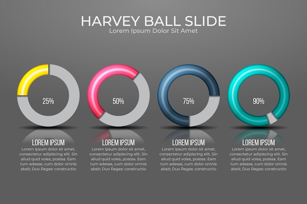 Realistische harvey ball-diagramme - infografik
