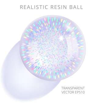 Realistische harzkugel mit einem regenbogen-lametta-glitzer im inneren, der einen transparenten schatten wirft