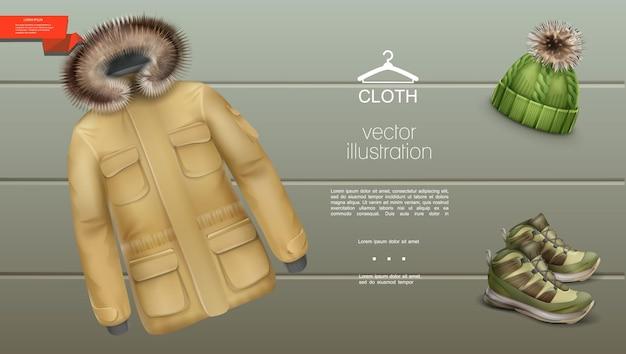 Realistische herren winterkleidung vorlage mit jacke strickmütze und turnschuhen auf gestreift