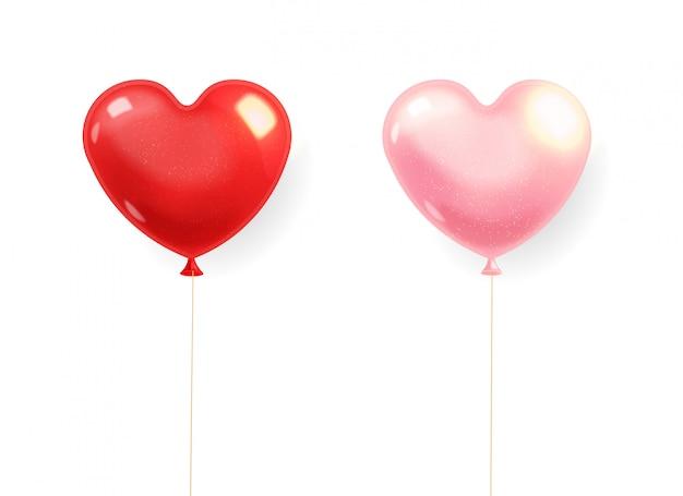 Realistische herzballons, rot und rosa lokalisiert mit weißem hintergrund, liebesdekoration, valentinstag