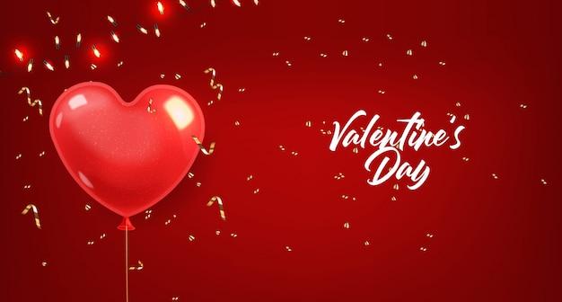 Realistische herzballons und goldene konfetti, rote isolierte, realistische lichter, liebesdekoration