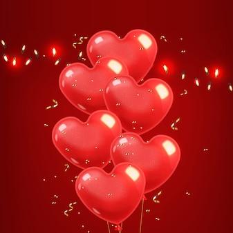 Realistische herzballons und goldkonfetti, rot isoliert mit rotem hintergrund, liebesdekoration, valentinstag, romantisch
