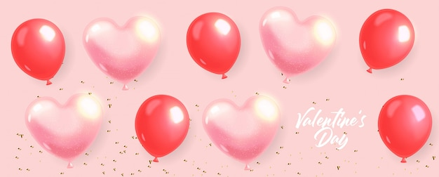 Realistische herzballons und goldkonfetti, rot lokalisiert mit rosa hintergrund, liebesdekoration, valentinstag, romantisch