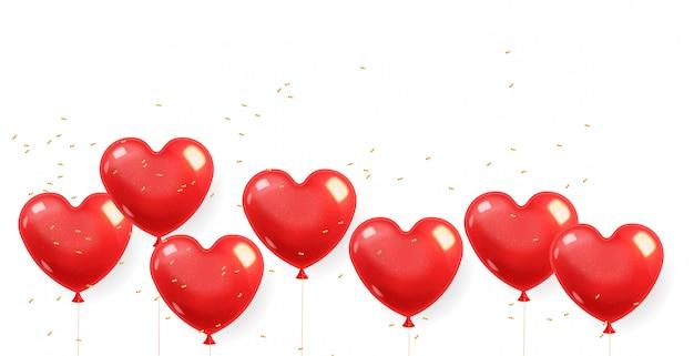 Realistische herzballons und goldkonfetti, rot lokalisiert mit weißem hintergrund, liebesdekoration, valentinstag