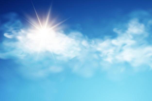 Realistische himmelsschablone mit transparenter wolke und sonnenstrahl.