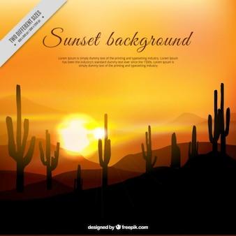 Realistische hintergrund eines sonnenuntergangs in der wüste