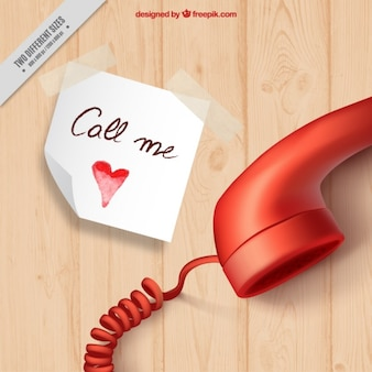Realistische hintergrund mit hinweis und telefon für den valentinstag