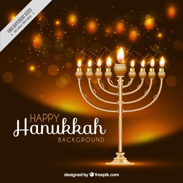Realistische hintergrund mit kerzenleuchter für hanukkah