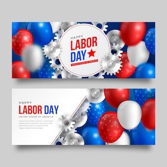 Realistische horizontale banner für den arbeitstag