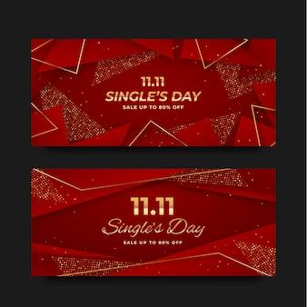 Realistische horizontale banner für den tag der goldenen und roten single
