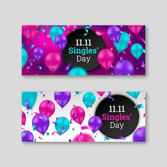 Realistische horizontale banner für singles mit ballons