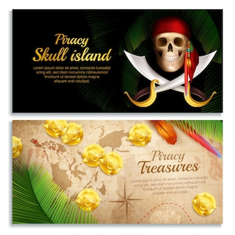 Realistische horizontale fahnen des piraten stellten mit den lokalisierten schatzsymbolen ein