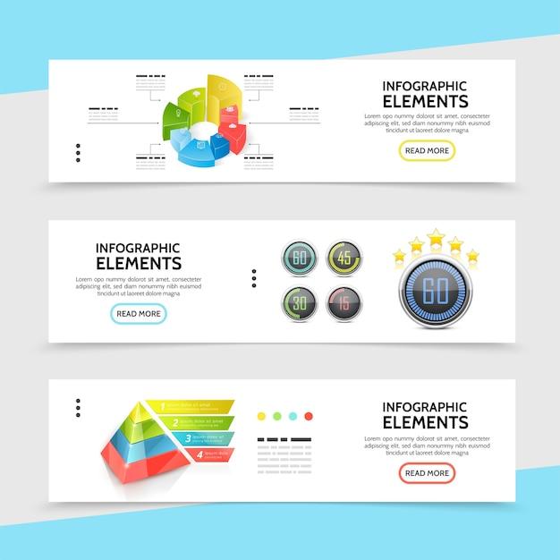 Realistische horizontale infografik-banner